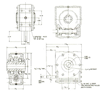 Model 202 Shaft-Mounted Worm Gear Reducer - Dimensional Drawing