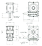 Model 303 Shaft-Mounted Worm Gear Reducer - Dimensional Drawing